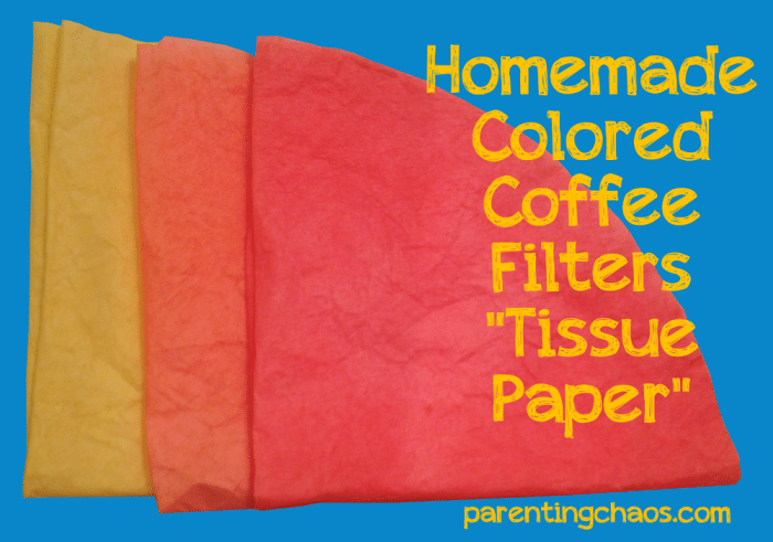 Homemade colored coffee filters