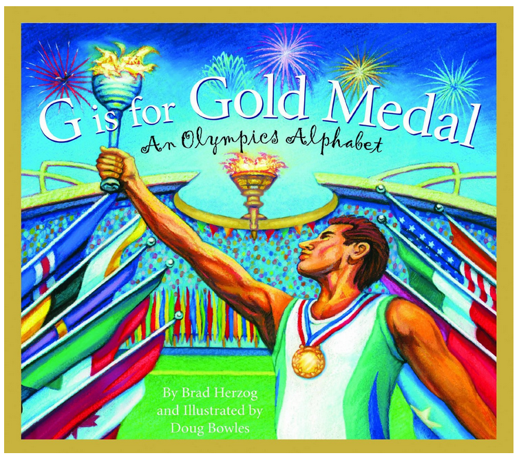 Olympic hand print medal craft, G is for gold Alphabet Book
