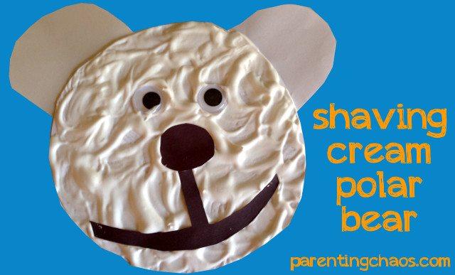 shaving cream polar bear craft