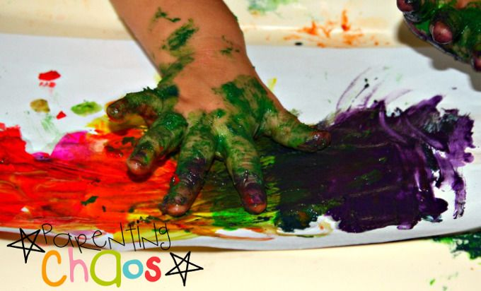 home made textured finger paints smear