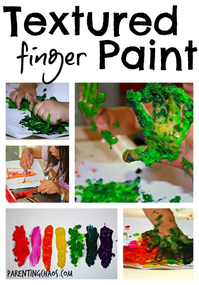 home made textured finger paints