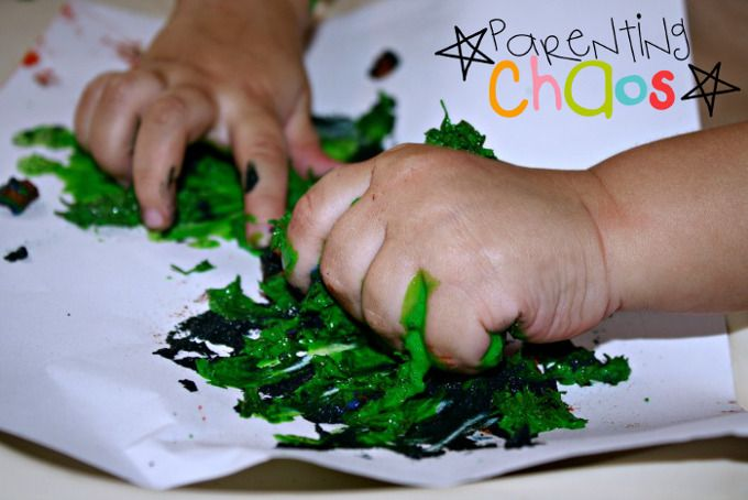 home made textured finger paints squeeze