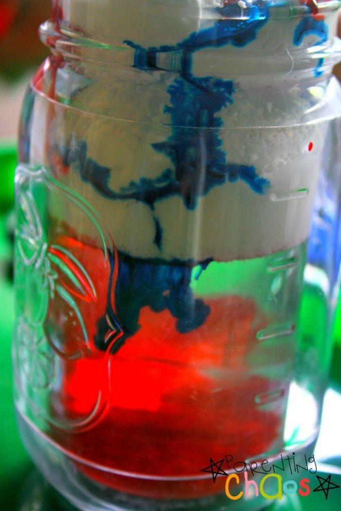 Rain Cloud in a Jar watching the food dye coming through shaving cream