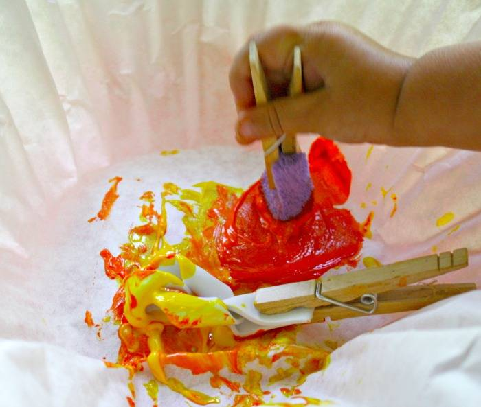 Kids painting with DIY Paintbrushes- Easy Peasy Fun!