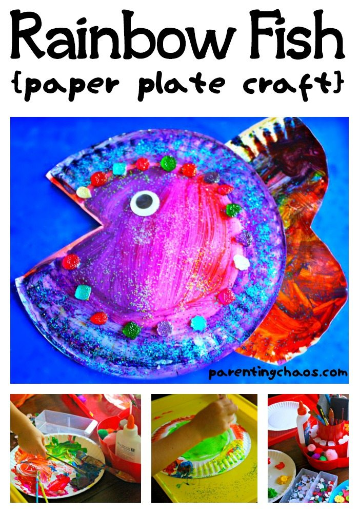Rainbow fish paper plate craft for The rainbow fish
