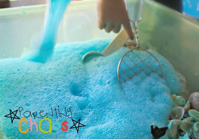 Marine Life Sensory Bin - A Bubble Explosion!