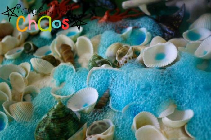 Sea Life Sensory Bin - Exploring Colors and Scientific Reactions