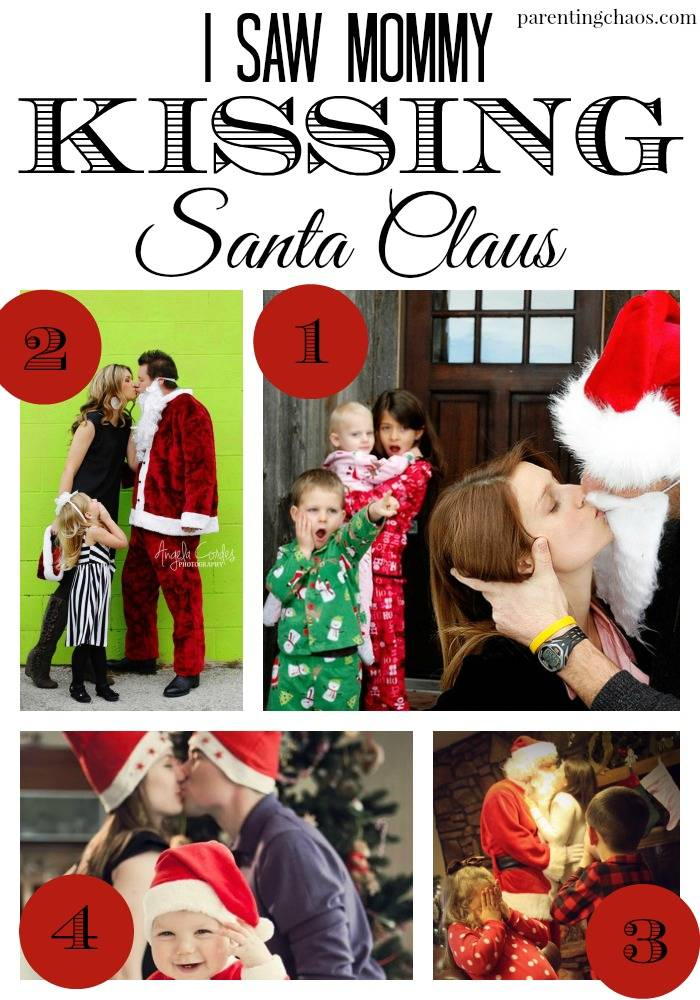 mommy kissing santa christmas card theme