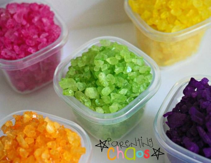 Homemade Colored Rock Salts: Bright, Sparkly, and FUN!