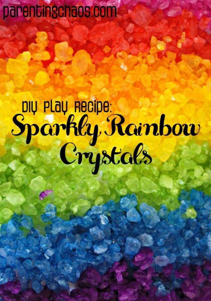 DIY Sparkly Rainbow Crystals {Dyed Rock Salts}