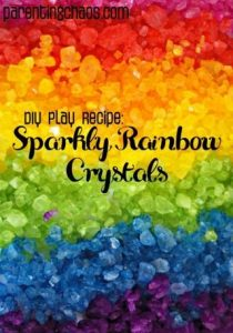 DIY Sparkly Rainbow Crystals {Dyed Rock Salts}