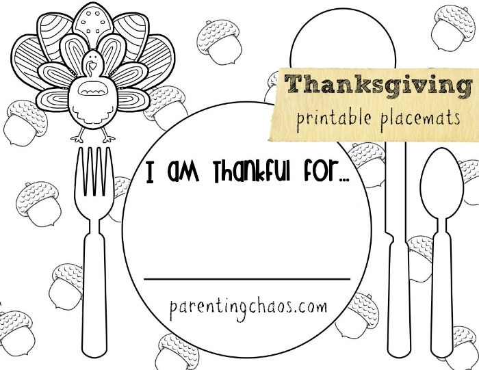 FREE Thanksgiving Printable Placemats!