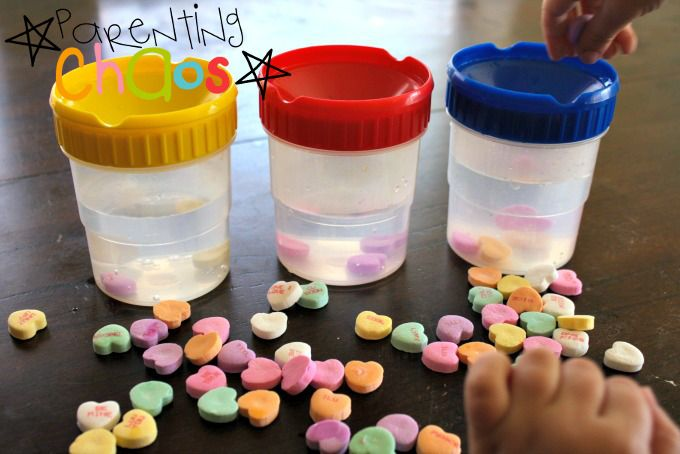 Melting Hearts! Dissolving Conversation Hearts Science Experiment Filling Cups Up
