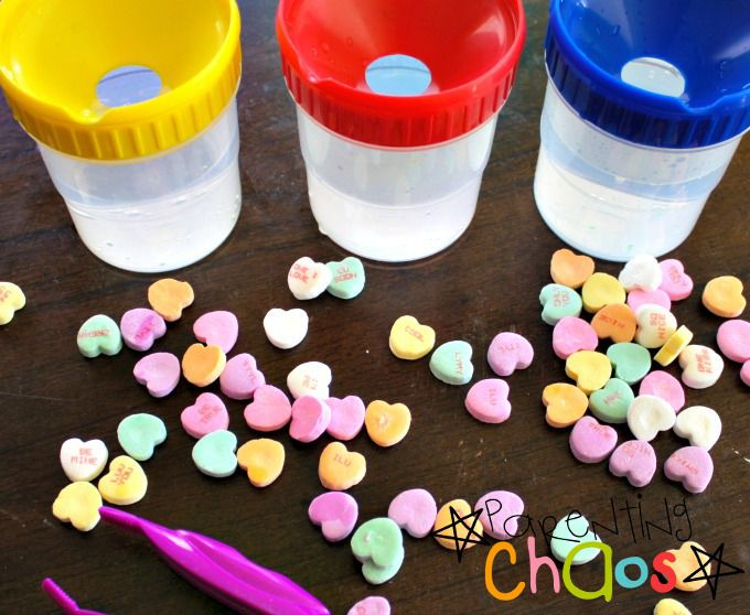 Melting Hearts! Dissolving Conversation Hearts Science Experiment Items Needed