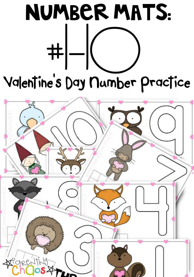 FREE Printable Valentine\'s Day Number Mats