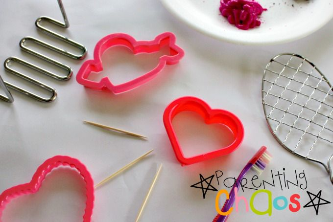 Valentine's Day Cookie Cutter Stamping Items Needed