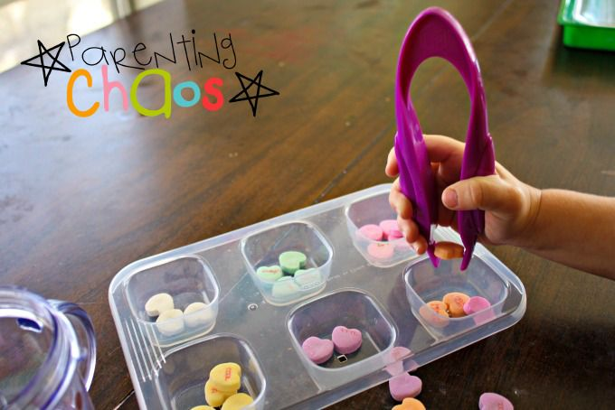Conversation Hearts Fine Motor Color Sorting Dropping Hearts into Sorting Tray