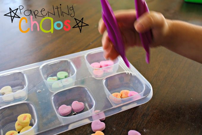 Conversation Hearts Fine Motor Skills Color Sorting: Learning to Use Tweezers