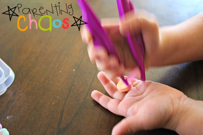 Conversation Hearts Fine Motor Color Sorting: Discovering How to Pick Up Items