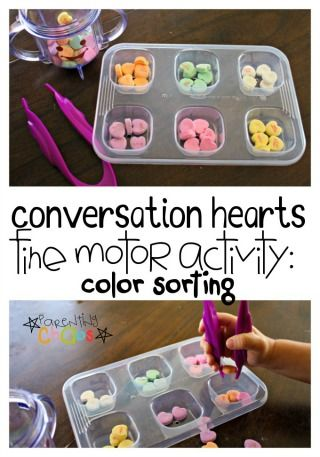 Conversation Hearts Fine Motor Color Sorting Activity