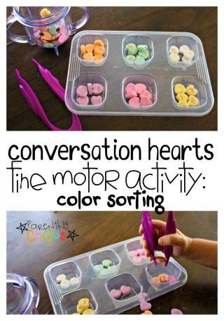 Conversation Hearts Fine Motor Color Sorting Activity