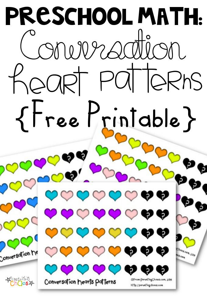 FREE Conversation Hearts Pattern Math Worksheets – Preschool Math Worksheets Free