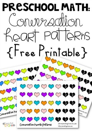 FREE Conversation Hearts Pattern Math Worksheets for Preschool