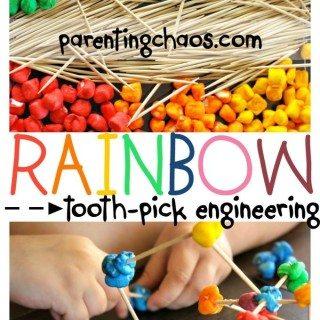Rainbow Marshmallow Toothpick Engineering