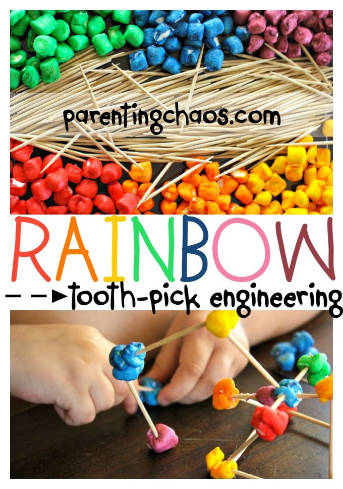 Rainbow Marshmallow Toothpick Engineering