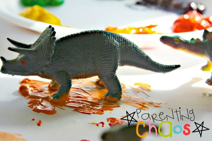 Dinosaur Stomp Painting: Jumping in Mud Puddles
