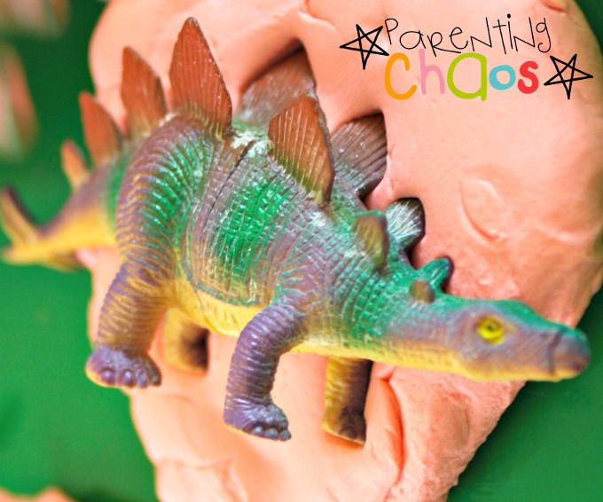 Playdough Dinosaur Fossils Making Imprints