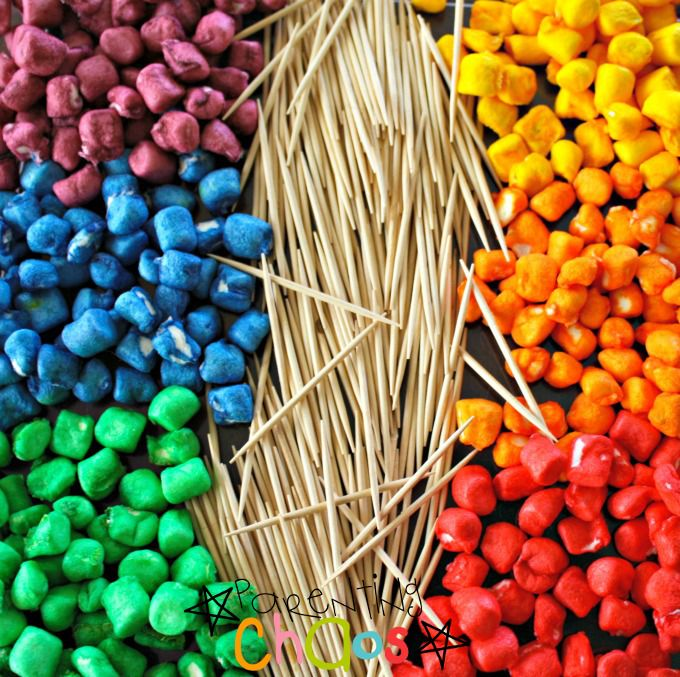 Items Needed for Rainbow Marshmallow Construction