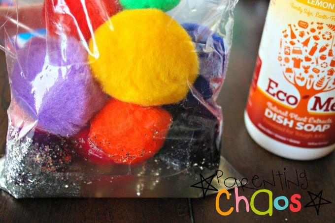 Add pom-poms to squish bag