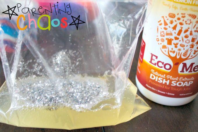 Add glitter to squish bag
