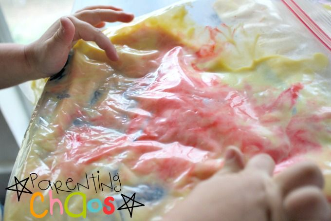Blending Vanilla Pudding and Food Dye
