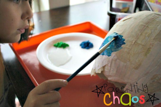 Painting Papier-mâché Earth