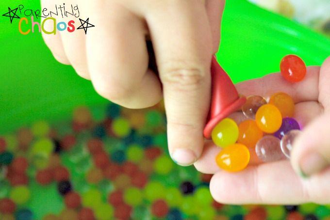 water beads inside a balloon