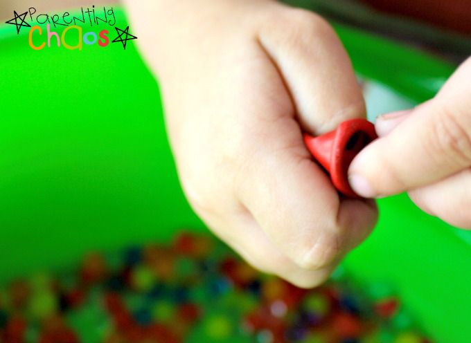 fine motor strengthening with water balloons