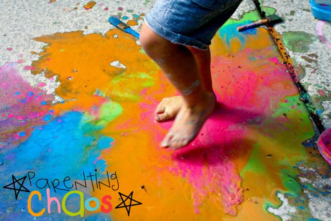 Puddle Jumping in Scented Sidewalk Chalk Paint