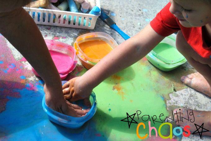 Exploring textures of scented sidewalk chalk paint