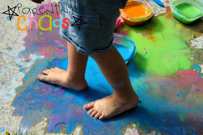 Stomping in Scented Sidewalk Chalk Paint