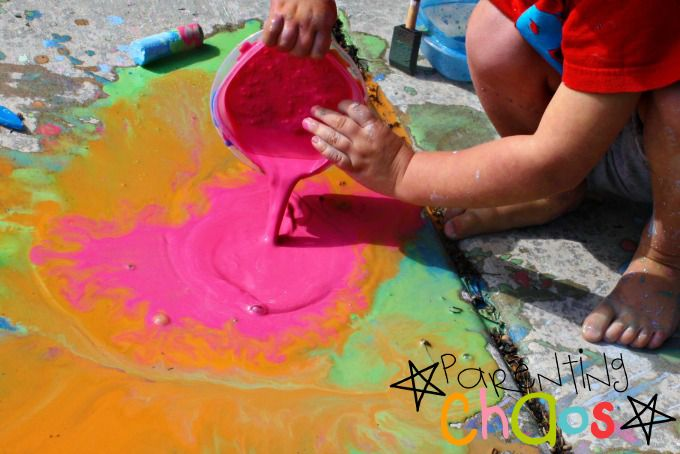 Pouring Scented Sidewalk Chalk Paint