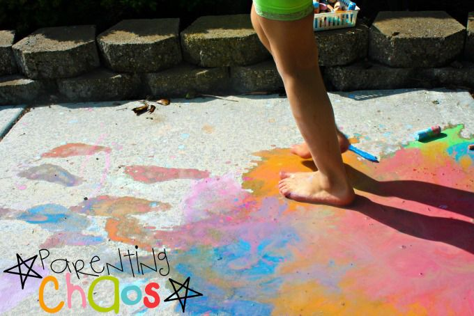 Making Footprints with Scented Sidewalk Chalk Paint