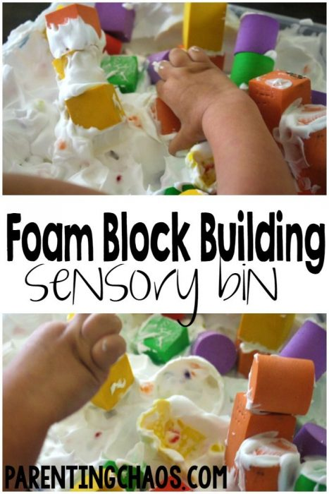Foam Block Building Sensory Bin