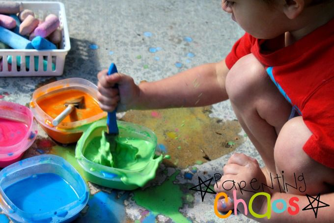 Painting with Scented Sidewalk Chalk Paint