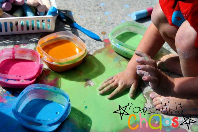 Exploring texture of scented sidewalk chalk paint