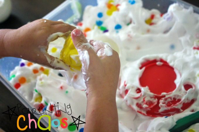 Shaving Cream and Water Beads Sensory Bin