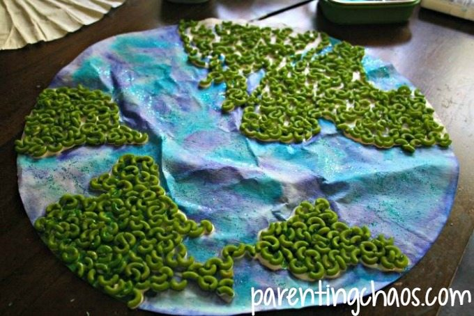 Pour Pasta on Your Pasta World Map Craft