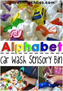Alphabet Car Wash Sensory Bin