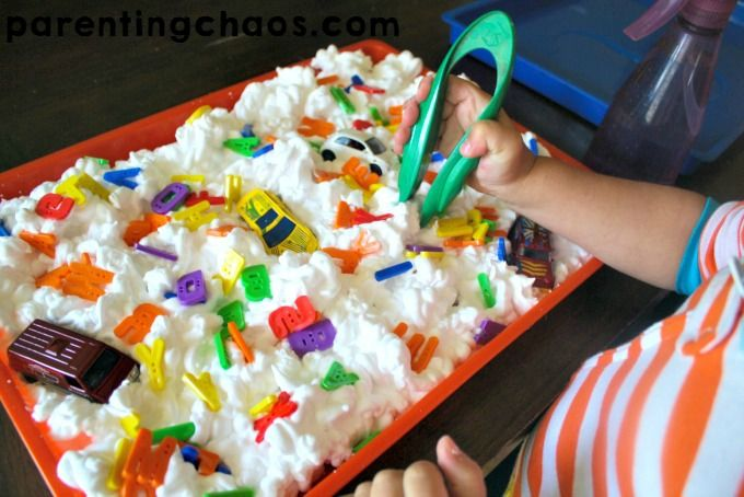 Set Up of a ABC Car Wash Sensory Bin